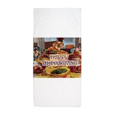 ThanksgivingFeast WITH DOGS16X12.png Beach Towel