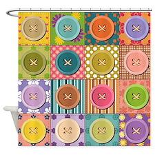 Buttons Quilt Shower Curtain