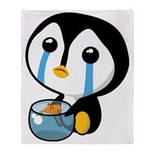 Sad Pengy Throw Blanket
