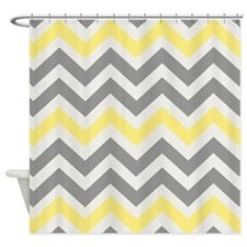 Gray Yellow Chevron Shower Curtain