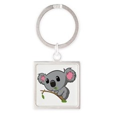 Hungry Koala Square Keychain