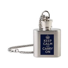 Keep Calm and Carry On Poster - Nav Flask Necklace