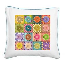 Square Canvas Buttons Quilt Image Pillow
