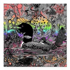 "Wild Rainbow Loon Square Car Magnet 3"" x 3"""