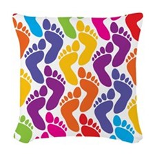 Fun Footprints Woven Throw Pillow