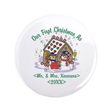 """Personalized First Christmas As Mr & Mrs 3.5"""" Butt"""