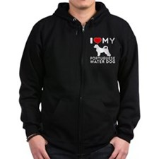 I Love My Dog Portuguese Water Dog Zip Hoodie