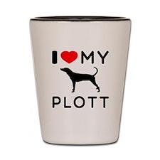 I Love My Dog Plott Shot Glass
