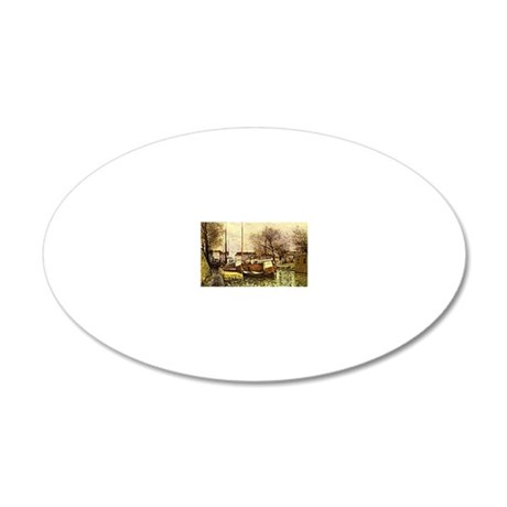 Sisley: Barges on the Canal, 20x12 Oval Wall Decal