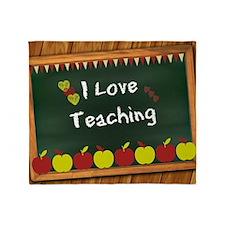 I Love Teaching - written on blackbo Throw Blanket
