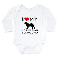 I Love My Norwegian Elkhound Long Sleeve Infant Bo