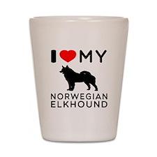 I Love My Norwegian Elkhound Shot Glass