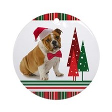 Santa Bulldog Ornament (Round)