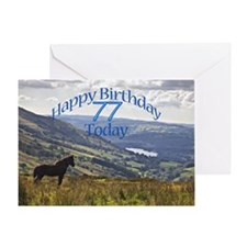77th Birthday with a horse. Greeting Cards