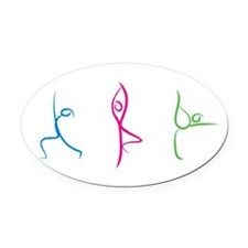Yoga Poses Oval Car Magnet