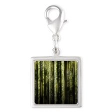 Digital Rain - Yellow Silver Square Charm