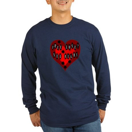 Holes in Heart Long Sleeve Dark T-Shirt