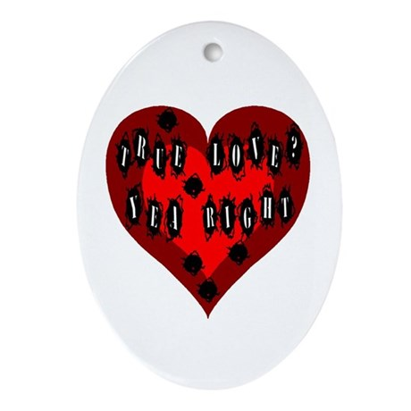 Holes in Heart Oval Ornament