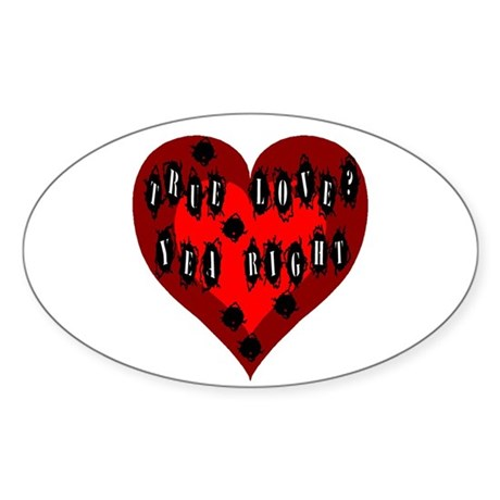 Holes in Heart Oval Sticker