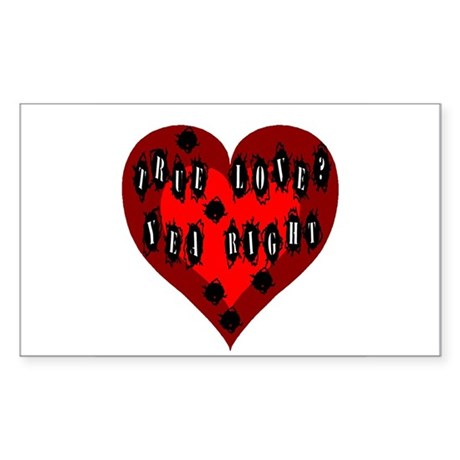 Holes in Heart Rectangle Sticker