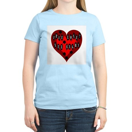 Holes in Heart Women's Pink T-Shirt