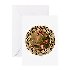 Makeup Christmas Cheetah Greeting Card