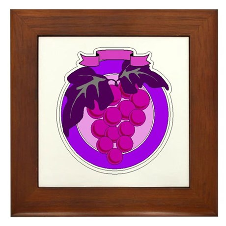 Purple Grapes Framed Tile