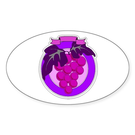 Purple Grapes Oval Sticker