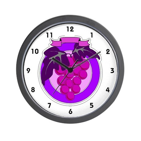 Purple Grapes Wall Clock