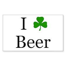 I Love Beer (Irish) Rectangle Decal