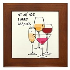 At My Age I Need Glasses Framed Tile