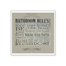 "bathroom rules Square Sticker 3"" x 3"""