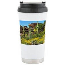 Four Saguaros & Wildflowers Ceramic Travel Mug