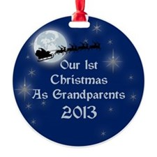 1St Christmas As Grandparents 2013 Round Ornament