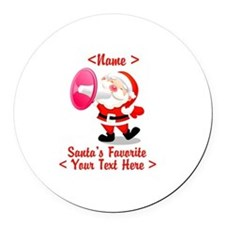 Personalize Santa's Favorite Your Text Round Car M