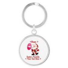 Personalize Santa's Favorite Your Text Round Keych