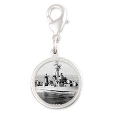 twining note card Silver Round Charm