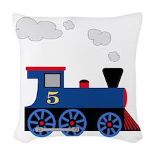 train age 5 blue black Woven Throw Pillow