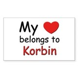 My heart belongs to korbin Rectangle Decal