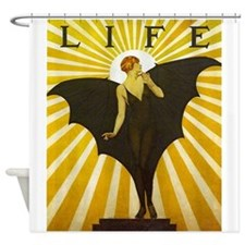 Art Deco Bat Lady Pin Up Flapper Shower Curtain