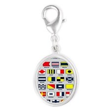 Maritime flags pillow Silver Oval Charm