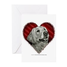 Golden Retriever Valentine Greeting Cards (Package