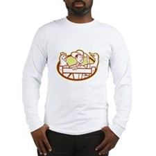 Farmer With Chicken Goose Cartoon Long Sleeve T-Sh