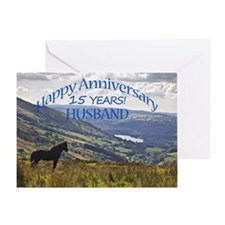 15th Anniversary for husband Greeting Cards