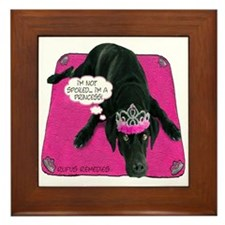 Black Lab Princess Framed Tile