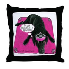 Black Lab Princess Throw Pillow