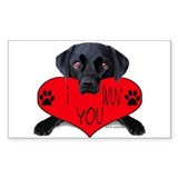 Black Lab Valentine Rectangle Decal