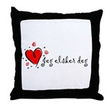 """I Love You"" [Norwegian] Throw Pillow"