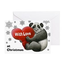 Panda Hugging A Heart Christmas Card