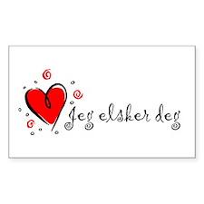 """I Love You"" [Norwegian] Rectangle Decal"